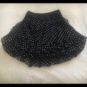 INC Flounce Ruffle Blue Polka Dot Skirt